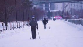 北欧走 步行的老人在公园在冬天 活跃人民户外,冬季体育 股票录像
