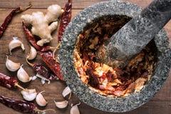 北泰国肉和蕃茄辣垂度顶视图,做i 免版税库存图片