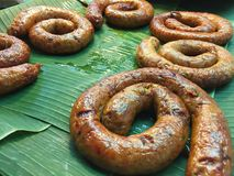 北泰国辣椒香肠或Sai Aua在泰国 库存图片
