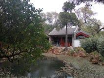 北海公园`镜子清宫翟`的一个精美庭院 免版税库存照片