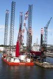 北海平台在码头 免版税库存照片