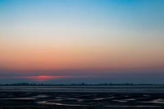 北海德国威廉港在晚上 免版税库存图片