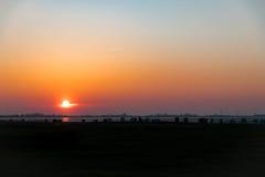 北海德国威廉港在晚上 库存照片