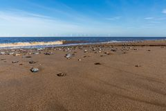 北海海岸在Caister在海,诺福克,英国,英国 免版税库存照片