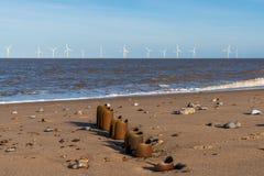北海海岸在Caister在海,诺福克,英国,英国 免版税库存图片