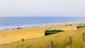 北海海滩的看法,秋天,与大海和黄色草 库存图片