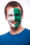 北爱尔兰人足球迷面孔画象为北爱尔兰国家队祈祷 库存图片