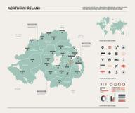 北爱尔兰的传染媒介地图 与分裂、城市和首都贝尔法斯特政治地图,世界地图的高详细的国家地 向量例证