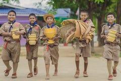 北碧泰国- 6月13日:prepar未认出的童子军 图库摄影
