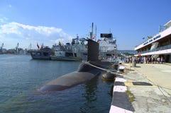 北约军舰和潜水艇,瓦尔纳,保加利亚 库存照片