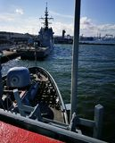 北约军舰 在生动的颜色的艺术性的神色 免版税图库摄影