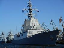北约军舰 在生动的颜色的艺术性的神色 库存照片
