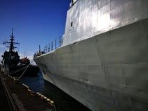 北约军舰 在生动的颜色的艺术性的神色 免版税库存图片
