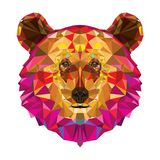 北美灰熊头在geomeyric样式的 向量例证