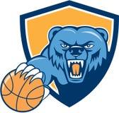 北美灰熊恼怒的顶头篮球盾动画片 皇族释放例证