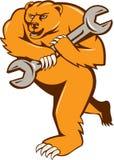 北美灰熊技工被隔绝的扳手圈子 向量例证