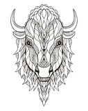 北美野牛顶头zentangle传统化了,导航,例证,徒手画的pe 库存图片