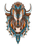 北美野牛顶头zentangle传统化了,导航,例证,徒手画的pe 免版税图库摄影