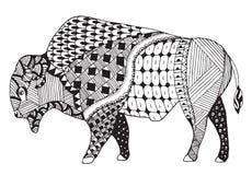 北美野牛zentangle传统化了,导航,例证,徒手画的铅笔 免版税库存照片