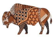 北美野牛zentangle传统化了,导航,例证,徒手画的铅笔 库存照片
