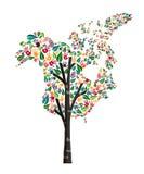 北美洲手印刷品树标志世界帮助 库存例证