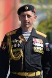 北舰队的第61个分开的希尔克内斯红色横幅海军步兵旅团沿海力量的司令员,瓦列里上校 库存照片