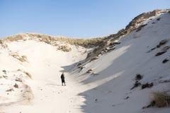 北荷兰省沙丘的白肤金发的青少年的女孩  库存图片