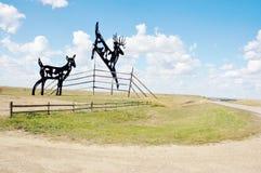 从北达科他的世界最大的鹿 库存照片