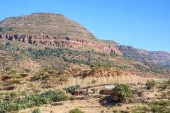 北部埃赛俄比亚的山在冬天 免版税库存图片