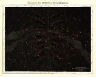 1875北部天空的迈尔古色古香的天文星座图 库存图片