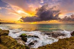 北部岸夏威夷日落 免版税库存照片