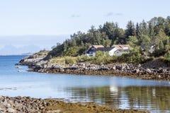 北部挪威的村庄 免版税库存照片