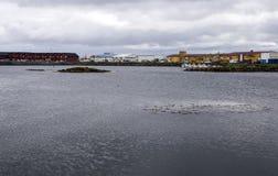 北部挪威的村庄 库存图片