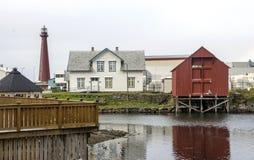 北部挪威的村庄 库存照片