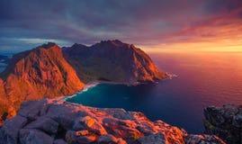 北部日落在挪威 库存照片