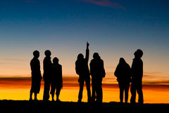 北部星形。 Haleakala日落。 免版税库存图片
