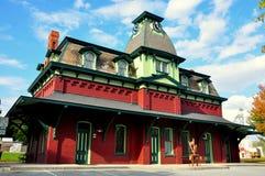 北部本宁顿, VT :1880火车站时钟 库存图片
