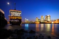 北部格林威治和金丝雀码头,伦敦。 免版税库存照片