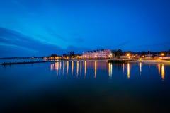 北部海滩岸在晚上,在北部海滩,马里兰 库存图片