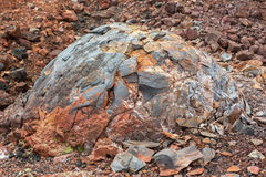 北部突破伟大的扎尔巴奇克火山冻结的火山的放射裂痕爆发1975年 库存照片