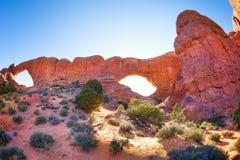 北部窗口曲拱,拱门国家公园在美国 库存图片