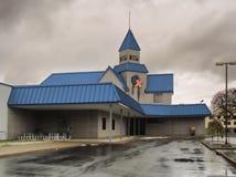 北部西勒鸠斯,纽约,美国 2018年11月11日 一部分的西勒鸠斯乡情,Cablexpress占领什么曾经是普遍的斯维茨 免版税库存照片