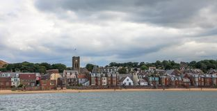 北部贝里克、一海滨城镇和前皇家自治都市在东洛锡安,大众湾的南岸的,苏格兰 免版税图库摄影