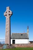 北部BERWICK,东部LOTHIAN/SCOTLAND - 8月14日:石十字架e 图库摄影