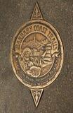 北非海岸足迹的标志在旧金山 免版税图库摄影
