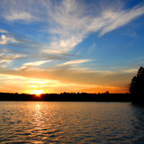 北Wisconsin湖日落 图库摄影