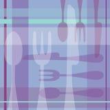 匙子叉子刀子紫色背景 免版税图库摄影
