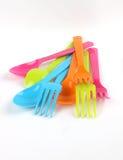 匙子和叉子颜色 图库摄影