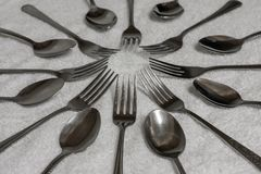 匙子和叉子 图库摄影