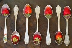 匙子用金属表面上的草莓 水下落 上面竞争 库存图片